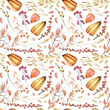 Seamless autumn pattern with watercolor pumpkin, tree branches, rowan and other berries, hand painted on a white background