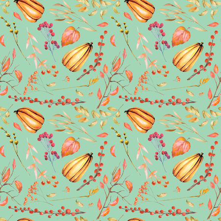 Seamless autumn pattern with watercolor pumpkin, tree branches, rowan and other berries, hand painted on a green background Stock Photo
