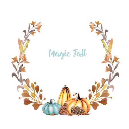 Autumn wreath with watercolor pumpkins fall flowers branches autumn wreath with watercolor pumpkins fall flowers branches and fir cones hand painted mightylinksfo