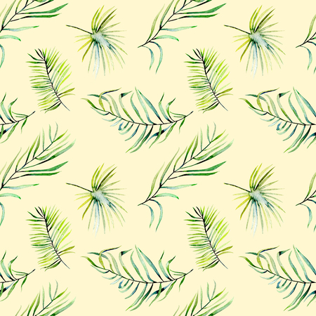 Watercolor green tropical palm leaves and fern branches seamless pattern, hand painted isolated on a beige background