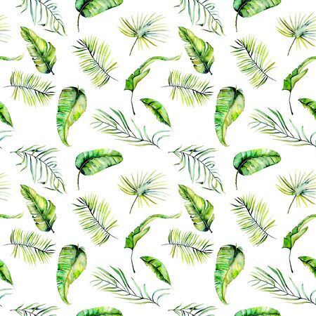 Watercolor green tropical exotic leaves and fern branches seamless pattern, hand painted isolated on a white background