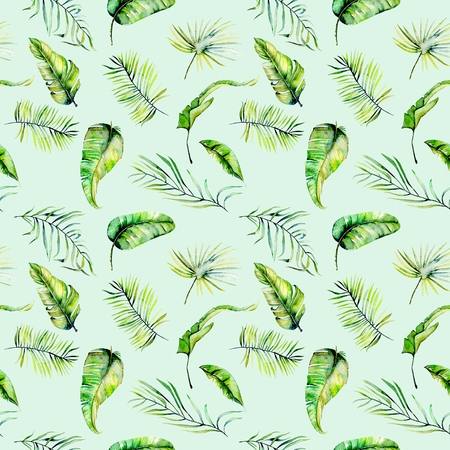 Watercolor green tropical exotic leaves and fern branches seamless pattern, hand painted isolated on a blue background Stock Photo