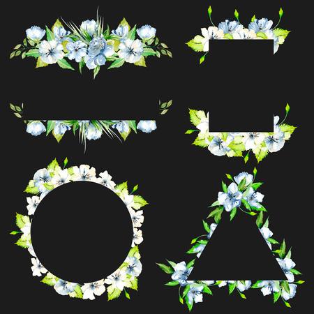 Sada rámečků s jednoduchými akvarelovými modrými květinami a zelenými čerstvými listy, ručně malované na tmavém pozadí, šablona květinového designu pro svatební karty