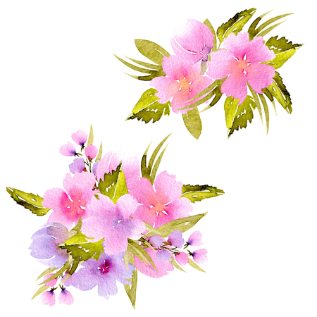 Watercolor pink, purple wildflowers and green branches bouquets, hand painted isolated on a white background, floral festive and wedding decor