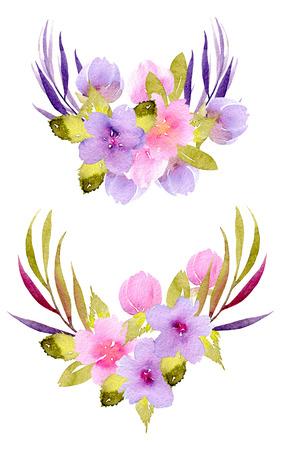 Aguarela rosa, flores roxas e ramos de ramos verdes, pintados à mão isolados em um fundo branco, decoração festiva floral e casamento