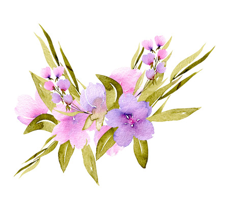 Watercolor pink, purple wildflowers and green branches bouquet, hand painted isolated on a white background, floral festive and wedding decor Stock Photo