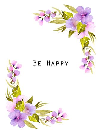 모서리 테두리 프레임 분홍색과 보라색 야생화와 녹색 지점, 손으로 수채화 인사말 카드, 결혼식 디자인, 장식 엽서 또는 초대장 흰색 배경에 그린 스톡 콘텐츠