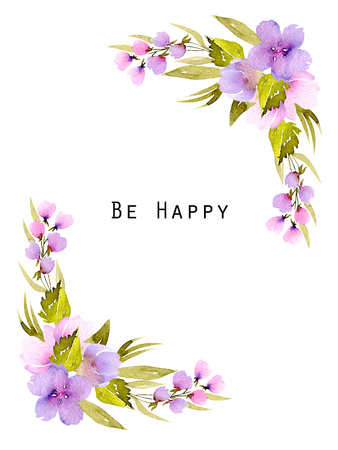 Narożnik ramki z różowe i fioletowe kwiaty i zielone gałęzie, ręcznie malowane w akwarela na białym tle, na kartkę z życzeniami, projekt ślub, pocztówka ozdoba lub zaproszenie Zdjęcie Seryjne