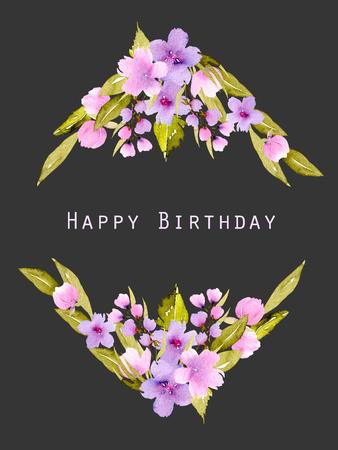 Rhombus hraniční rámeček s růžovými a fialovými květy a zelenými listy, ručně malovaný akvarel na tmavém pozadí, design narozenin, pohlednice, dekorativní pohlednice nebo pozvánka Reklamní fotografie