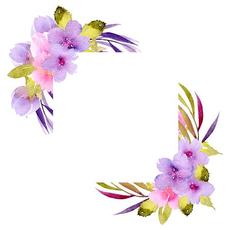 Rohový rámeček s růžovými a fialovými květinami a zelenými větvemi, ručně malovaný v akvarelu na bílém pozadí, pro blahopřání, svatební design, dekorativní pohlednici nebo pozvánku Reklamní fotografie