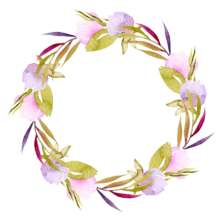 Circle frame, wreath of pink and purple small wildflowers buds, green leaves and branches, hand painted in watercolor on a white background, for greeting card, wedding design, decoration postcard or invitation
