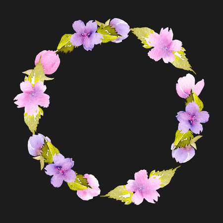 Circle frame, wreath of pink and purple small wildflowers, hand painted in watercolor on a dark background, for greeting card, wedding design, decoration postcard or invitation