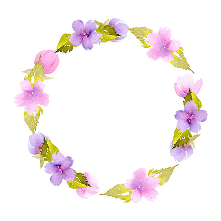 Circle frame, wreath of pink and purple small wildflowers, hand painted in watercolor on a white background, for greeting card, wedding design, decoration postcard or invitation