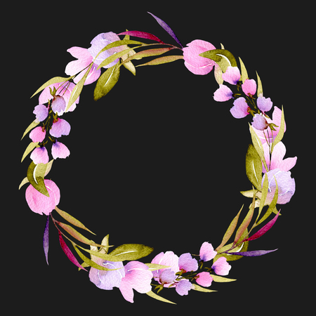 Circle frame, wreath of pink flower branches and greens, hand painted in watercolor on a dark background, for greeting card, wedding design, decoration postcard or invitation