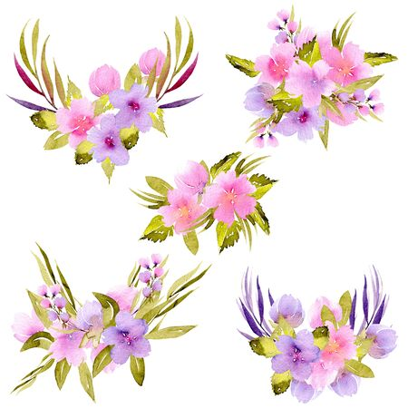 Watercolor pink, purple wildflowers and green branches bouquet set, hand painted isolated on a white background, floral festive and wedding decor