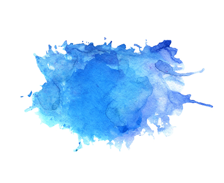 Watercolor blue stain with blots, paper texture, isolated on a white background Archivio Fotografico