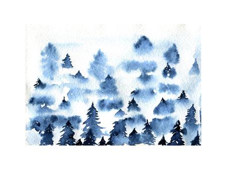 Blue foggy spruce forest landscape watercolor illustration Stock Photo