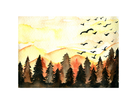 Orange spruce forest, birds and mountains landscape watercolor illustration