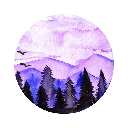 Purple spruce forest and mountains landscape watercolor round illustration Stock Photo