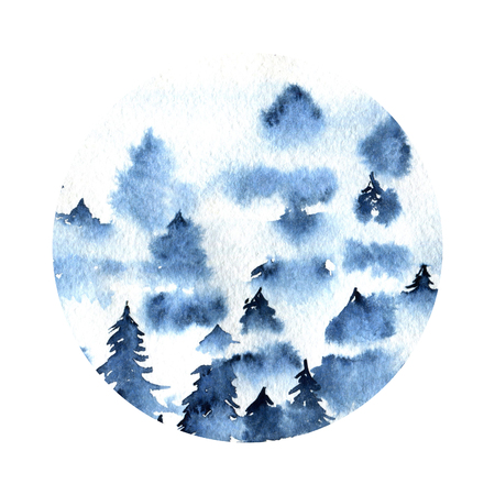 Blue foggy spruce forest landscape watercolor round illustration Stok Fotoğraf