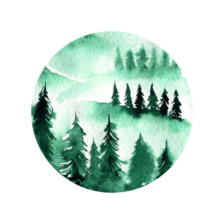 Green foggy spruce forest landscape watercolor round illustration