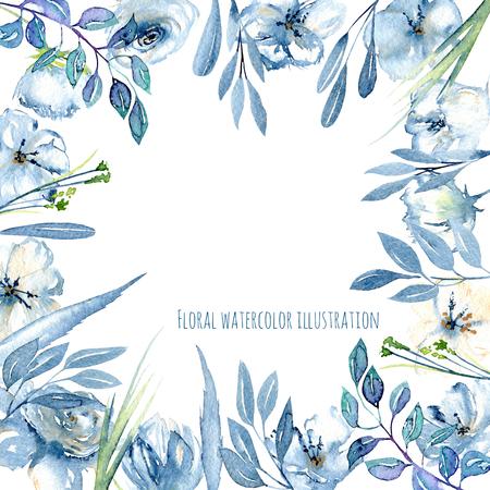 Kadergrens met eenvoudige die waterverf blauwe die rozen en wildflowers, bladeren en gras, hand op een witte achtergrond, malplaatje bloemenontwerp wordt geschilderd voor kaarten Stockfoto