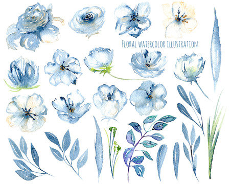 Watercolor blue flowers and leaves floral elements illustrations, hand drawn isolated on a white background, for a greeting card, decoration of a wedding invitation