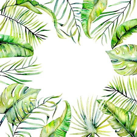 Watercolor tropical palm leaves border, hand painted on a white background, greeting card design Archivio Fotografico