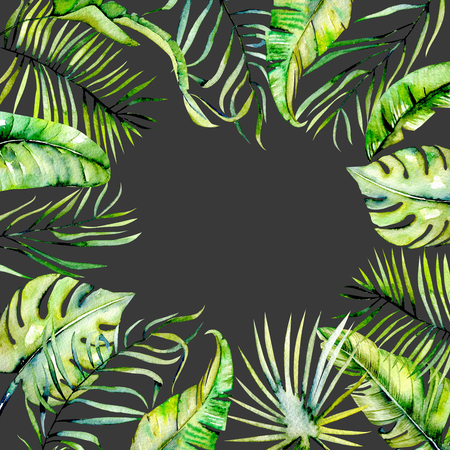 Watercolor tropical palm leaves border, hand painted on a dark background, greeting card design