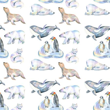 Akvarel roztomilý polární zvířata ilustrace bezproblémové vzor, ručně kreslených izolovaných na bílém pozadí Reklamní fotografie