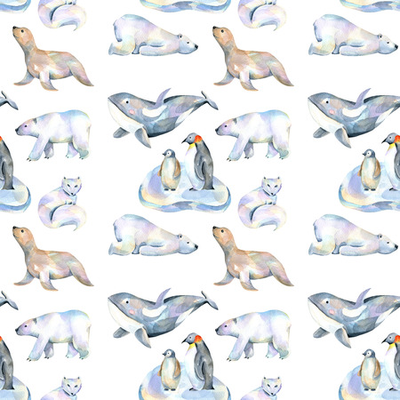 Watercolor cute polar animals illustrations seamless pattern, hand drawn isolated on a white background