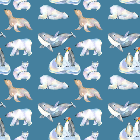 Watercolor cute polar animals illustrations seamless pattern, hand drawn isolated on a dark blue background Archivio Fotografico