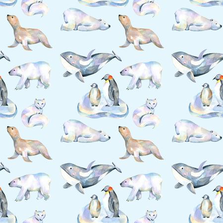 Akvarel roztomilý polární zvířata ilustrace bezproblémové vzorek, ručně kreslených izolovaných na modrém pozadí Reklamní fotografie