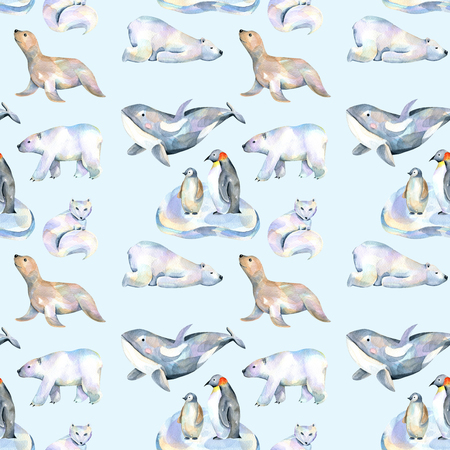 Watercolor cute polar animals illustrations seamless pattern, hand drawn isolated on a blue background Archivio Fotografico