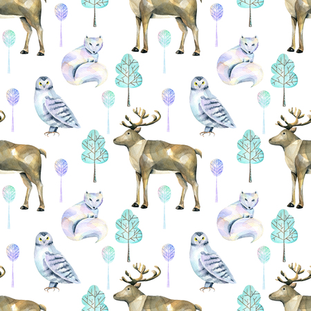 Watercolor polar deers, arctic foxes and owls in the forest seamless pattern, hand painted on a white background Stok Fotoğraf