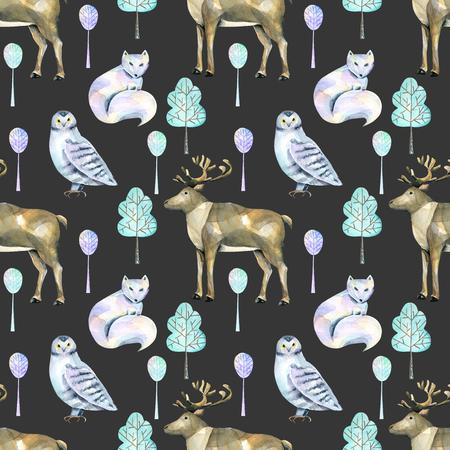 Akvarel polární jeleni, arktidy a sovy v lese bezproblémové vzorek, ručně malované na tmavém pozadí
