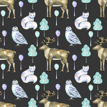 Watercolor polar deers, arctic foxes and owls in the forest seamless pattern, hand painted on a dark background