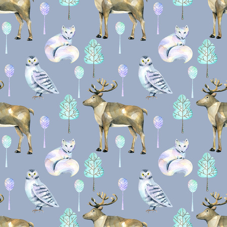 Watercolor polar deers, arctic foxes and owls in the forest seamless pattern, hand painted on a blue background 版權商用圖片