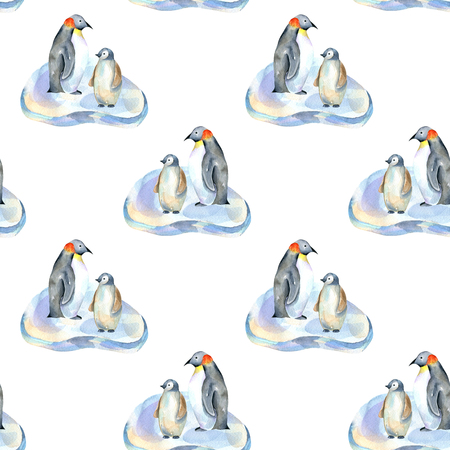 Watercolor penguins on ice floes seamless pattern, hand painted on a white background
