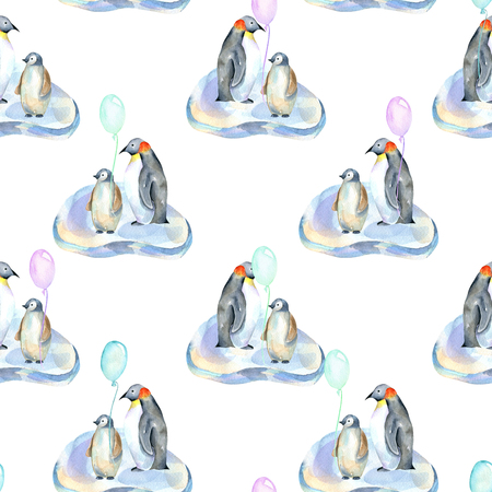 Watercolor penguins with air balloons on ice floes seamless pattern, hand painted on a white background