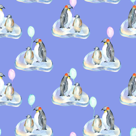 Watercolor penguins with air balloons on ice floes seamless pattern, hand painted on a blue background