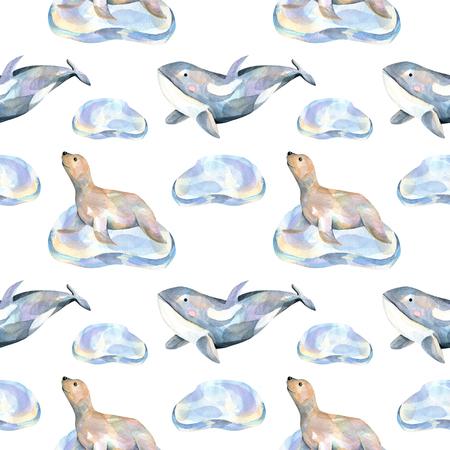 Akvarel kožíšek ucpat na ledu a velryby bezproblémové vzorek, ručně malované na bílém pozadí Reklamní fotografie