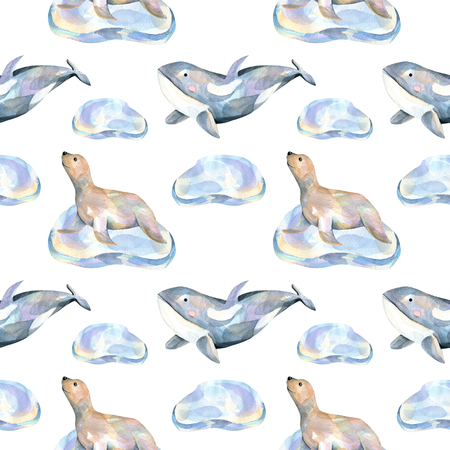 Watercolor fur seals on ice floes and whales seamless pattern, hand painted on a white background