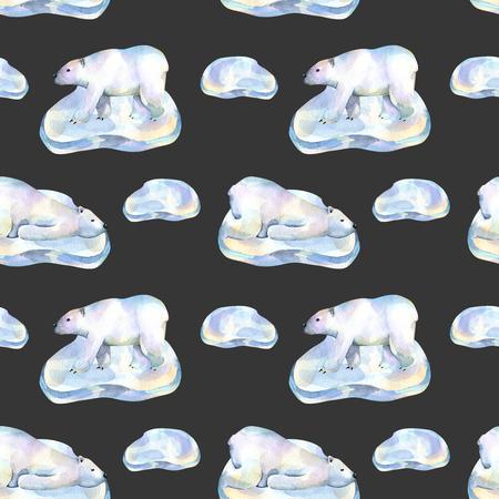 Akvarely lední medvědi na ledu floes bezešvé vzor, ručně malované na tmavém pozadí