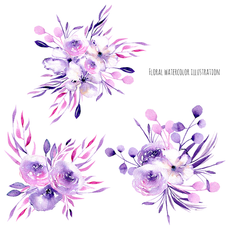 Watercolor purple roses, rhododendron flowers and branches bouquets, hand drawn isolated on a white background, for wedding, birthday and other greeting cards