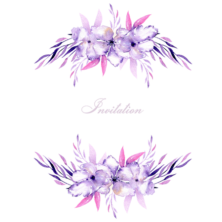 Card with watercolor purple rhododendron flowers and herbs bouquets, hand drawn on a white background, for wedding, birthday and other greeting cards