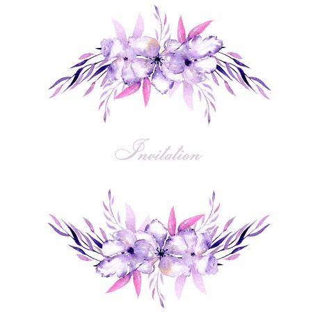 Karta s akvarelovými purpurovými rhododendronovými květinami a bylinkami, ručně kreslená na bílém pozadí, pro svatby, narozeniny a jiné pohlednice