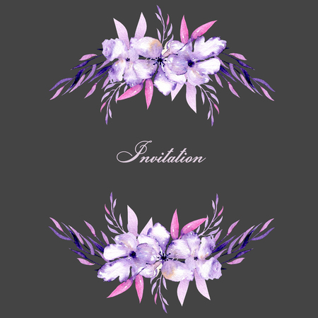 Kaart met aquarel paarse rododendron bloemen en kruiden boeketten, hand getrokken op een donkere achtergrond, voor bruiloft, verjaardag en andere wenskaarten