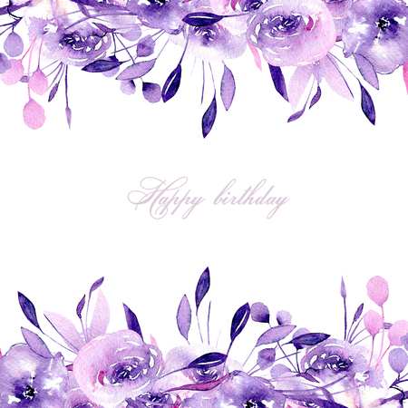 Floral design card with watercolor purple roses and herbs, hand drawn on a white background