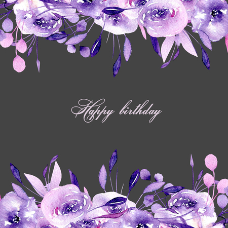 Floral design card with watercolor purple roses and herbs, hand drawn on a background, for wedding, birthday and other greeting cards